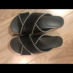 Zara Black Leather Studded Sandals